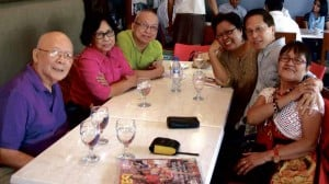 REUNION OF EX-DETAINEES Multiawarded author Ricky Lee (third from left) and fellow former martial law detainees are shown above during their reunion last year. From left are National Artist Bien Lumbera, Fanny Garcia, Lee, Jo-Ann Maglipon, Gil Quito and Flor Caagusan.  PHOTO COURTESY OF RICKY LEE