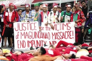 LAKBAYAN delegates from Mindanao, Southern Tagalog and the National Capital Region gather near Redemptorist Church in Baclaran, Parañaque City, in commemoration of the fifth anniversary of the Maguindanao massacre. NIÑO JESUS ORBETA
