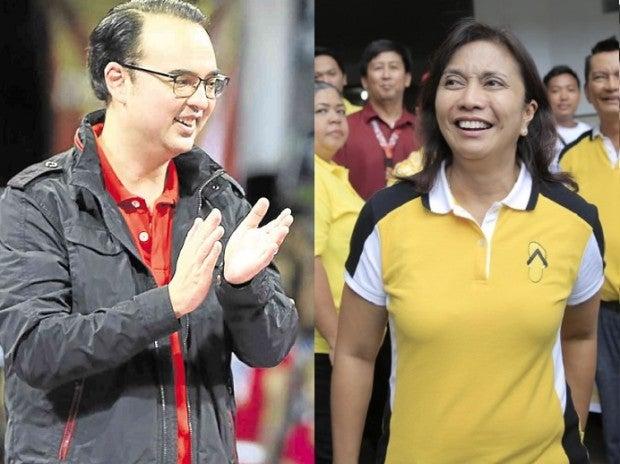 Sen. Alan Peter Cayetano and Camarines Sur Rep. Leni Robredo INQUIRER FILE PHOTOS