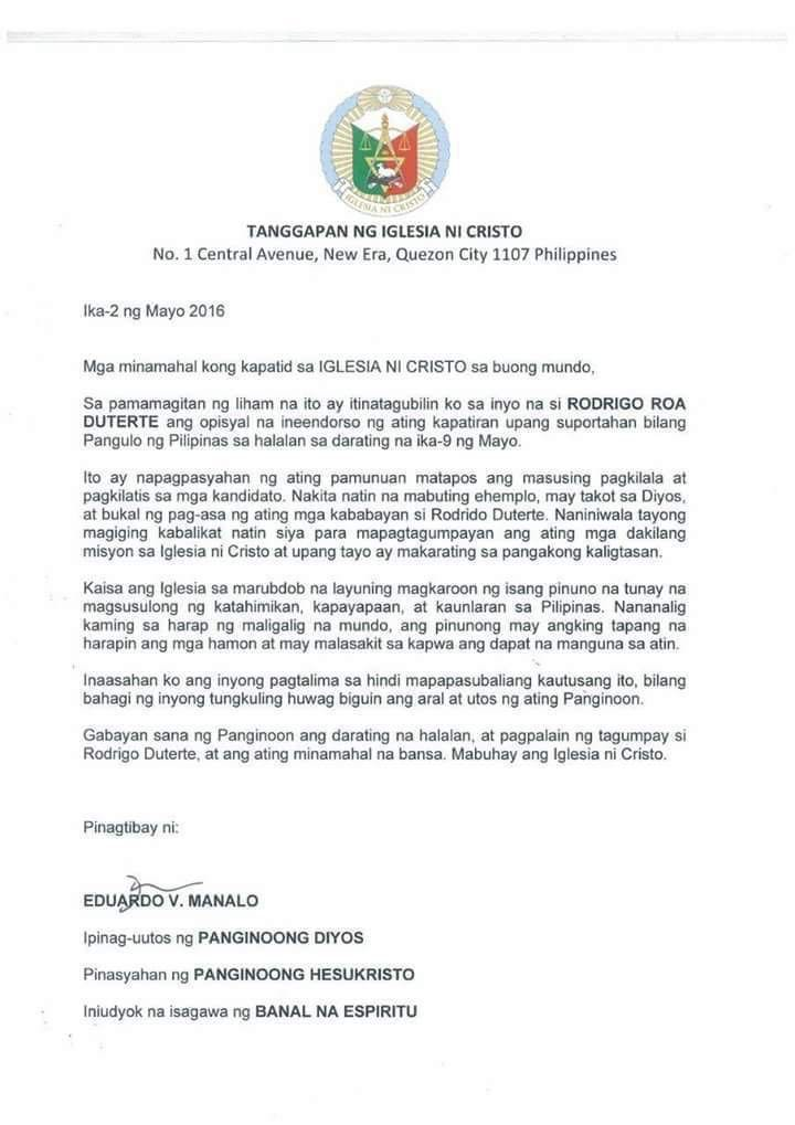 Iglesia Ni Cristo Denies Endorsement, Vows To Charge Forger