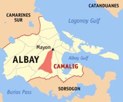 Camalig town in Albay (Wikipedia maps)