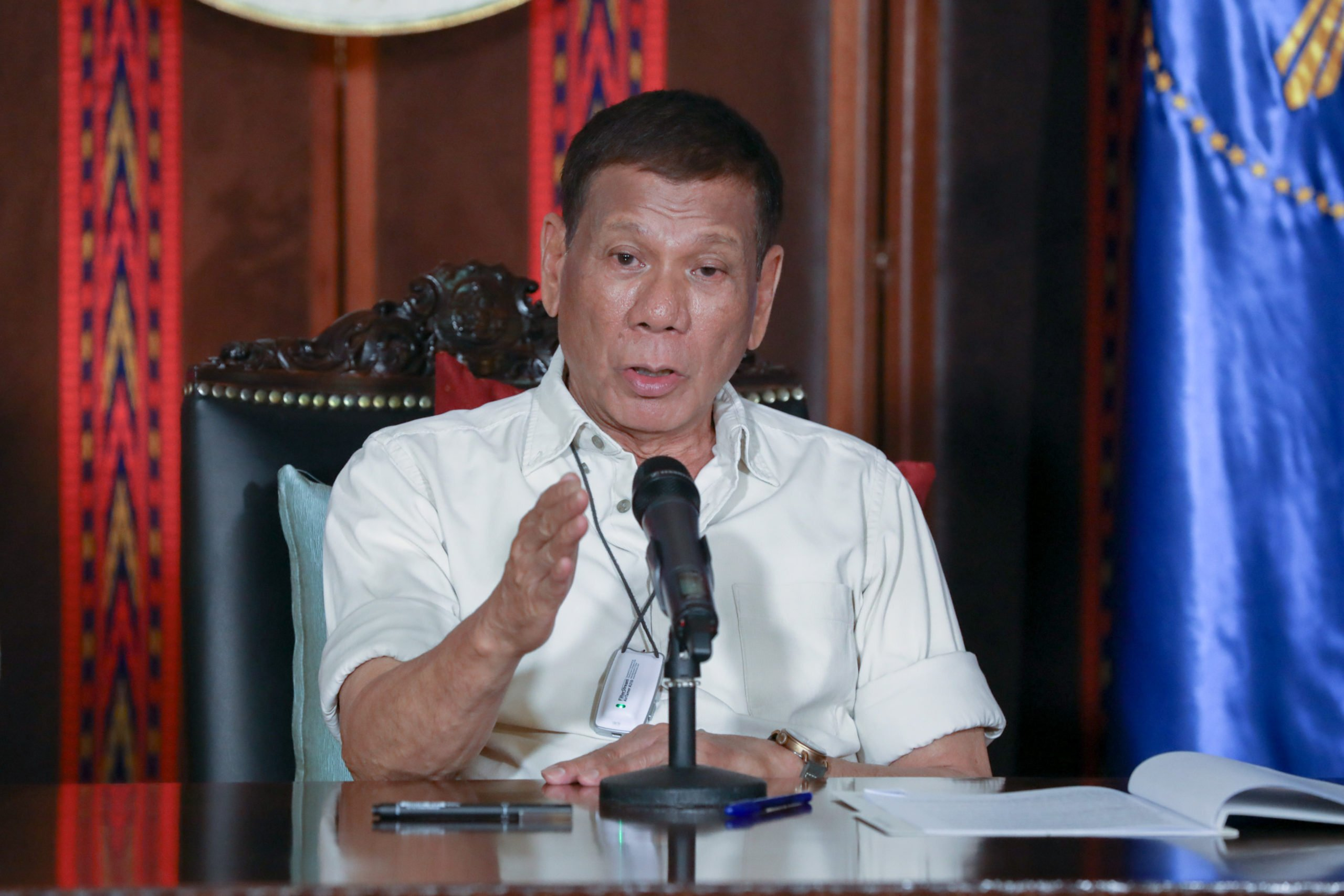 President Rodrigo Duterte updates the nation on the government's efforts in addressing the coronavirus disease (COVID-19) at the Malago Clubhouse in Malacañang on April 3, 2020. TOTO LOZANO / PRESIDENTIAL PHOTO