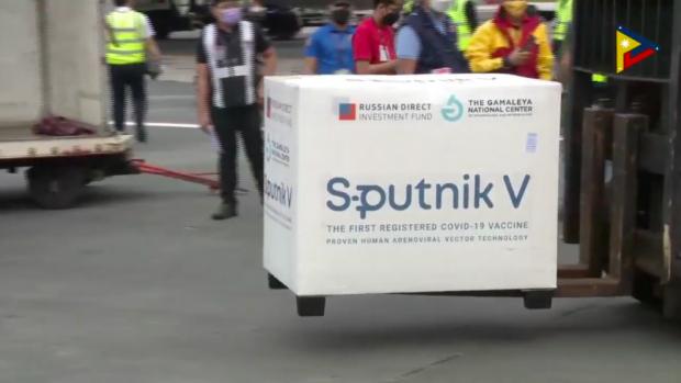 Arrival of recent shipment of Sputnik V vaccine doses. Screenshot from PTV