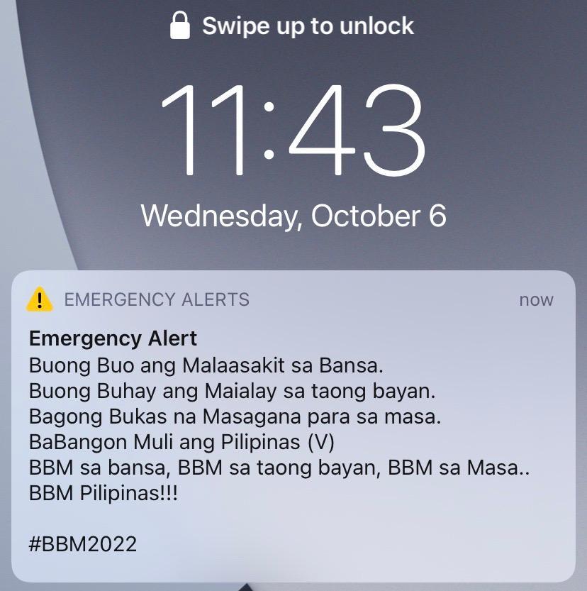 Screengrab of emergency alert on mobile phone marcos bayan muna hijack