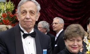 "In this March 24, 2002, file photo, John Nash, left, and his wife, Alicia, arrive at the 74th annual Academy Awards in Los Angeles. Nash, the Nobel Prize-winning mathematician whose struggle with schizophrenia was chronicled in the 2001 movie ""A Beautiful Mind,"" died in a car crash along with his wife in New Jersey on Saturday, May 23, 2015, police said.  AP PHOTO/LAURA RAUCH"